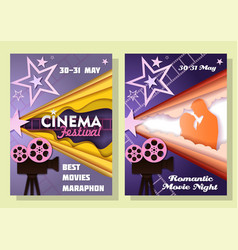 cinema festival posters in paper art style vector image