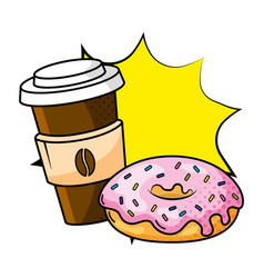 coffee cup and donut vector image