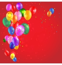 Color balloons on red background vector