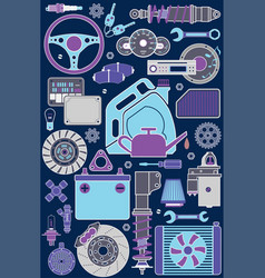 color set of car parts and elements vector image