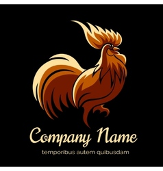 Company logo template with fire cock vector image