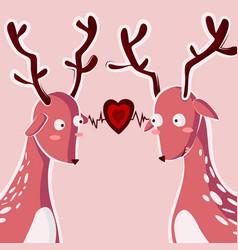 couple deer falling in love greeting card vector image