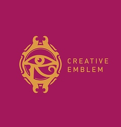 Creative Egyptian emblem eyes decorative circle vector