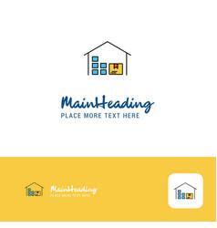 creative warehouse logo design flat color logo vector image