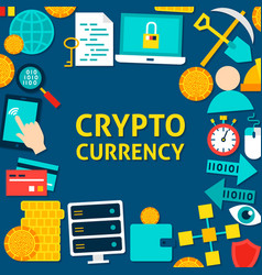 Cryptocurrency flat template vector