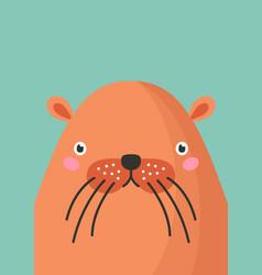 Cute beaver snout flat vector