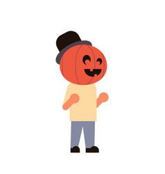 cute boy wear pumpkin scarecrow costume happy vector image