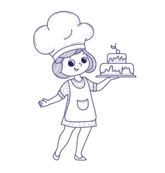 cute girl for coloring book girl bakes a cake vector image