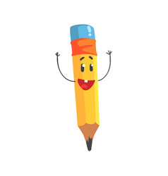 Cute happy cartoon yellow pencil character with vector