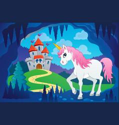 Cute unicorn in fairy tale cave vector