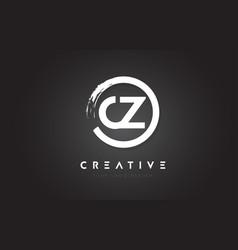 Cz circular letter logo with circle brush design vector