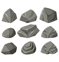 Different patterns of gray rocks vector