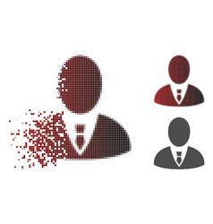 Disintegrating pixel halftone boss icon vector