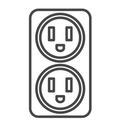 double electrical outlet icon outline style vector image