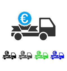 Euro gift delivery flat icon vector