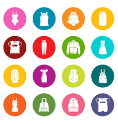 fashion clothes wear icons set colorful circles vector image