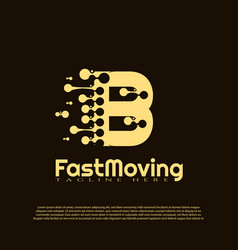 Fast moving logo with initial b letter concept vector