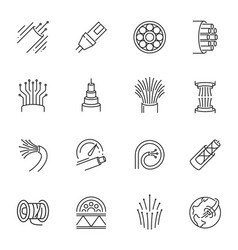 Fibre cable thin line icons set isolated on white vector