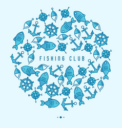 fishing club concept in circle vector image