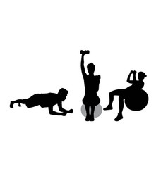 Fitness gym and weightlifting silhouettes vector