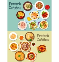 French cuisine meat and dessert dishes icon set vector