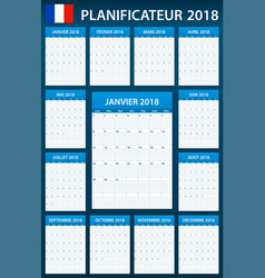 french planner blank for 2018 scheduler agenda or vector image