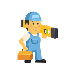 Friendly builder worker man with tools vector