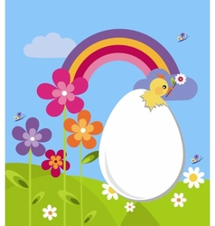 garden with easter egg and flowers vector image