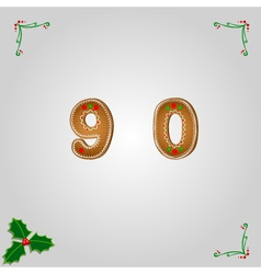 Gingerbread numbers 9 and 0 vector
