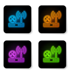 glowing neon router wi-fi with screwdriver and vector image