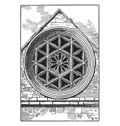 Gothic architecture rose hexagonal window square vector
