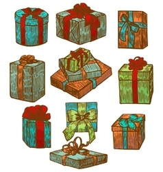 hand drawn graphic isolated gift set vector image