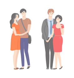 Happy families wife and husband in hugs isolated vector