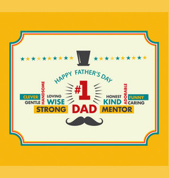 happy fathers day card vintage vector image