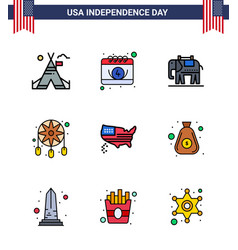 Happy independence day 9 flat filled lines icon vector