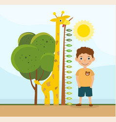 height comparison between a giraffe and boy vector image