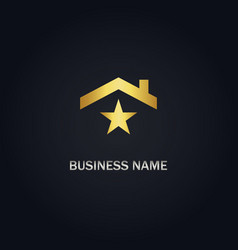 Home roof star gold logo vector