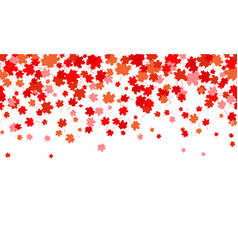 horizontal background with red maple leaves vector image