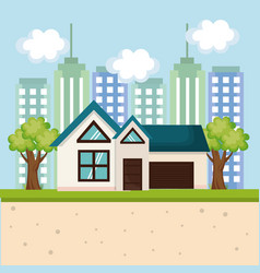 House and city design vector