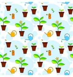 House plant growth and care advice seamless vector