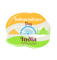 indian independence day poster with national flag vector image