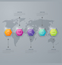 infographic with hexagons on the grey background vector image