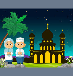 Islamic mosque cartoon in mubarak night with two vector