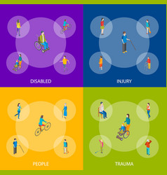 isometric disabled people characters banner set vector image