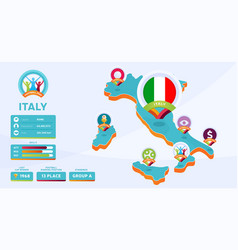 isometric map italy country football 2020 vector image