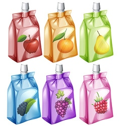 Juice with different flavour in the bag vector image