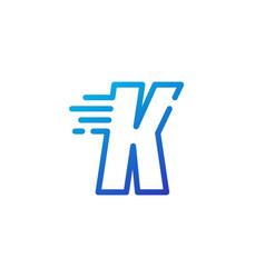 K letter dash fast quick digital mark line vector