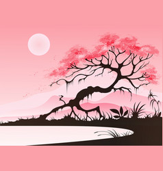 landscape with cherry blossom vector image