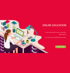 Learning online at home student sitting at desk vector