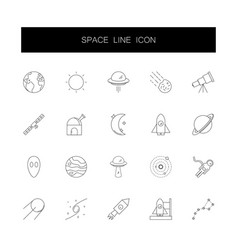 line icons set space pack vector image